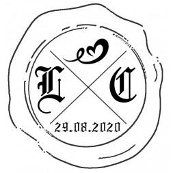 Tampon à cire à vos initiales avec une date et un symbole