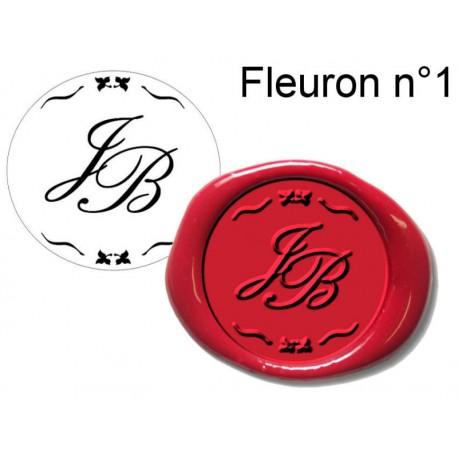 tampon cire initiales fleuron