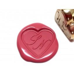 Tampon à cire en forme de coeur à deux initiales