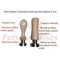Tampon sans plomb et sans nickel pour contact alimentaire pour marquer le chocolat.