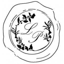 Tampon à cacheter initiales, police palace script, couronne d'automne